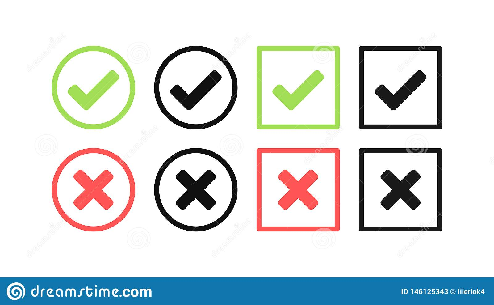 Green Check Mark And Red Cross Icon Set  Circle And Square  Tick