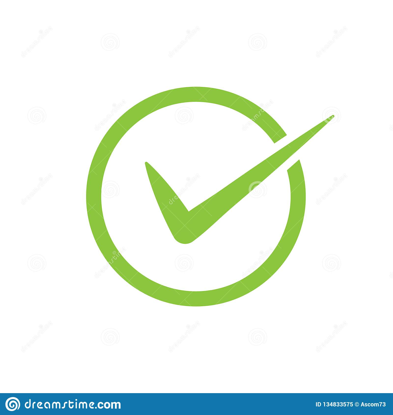 Green Check Mark Vector Icon In A Circle  Tick Symbol In Green Color