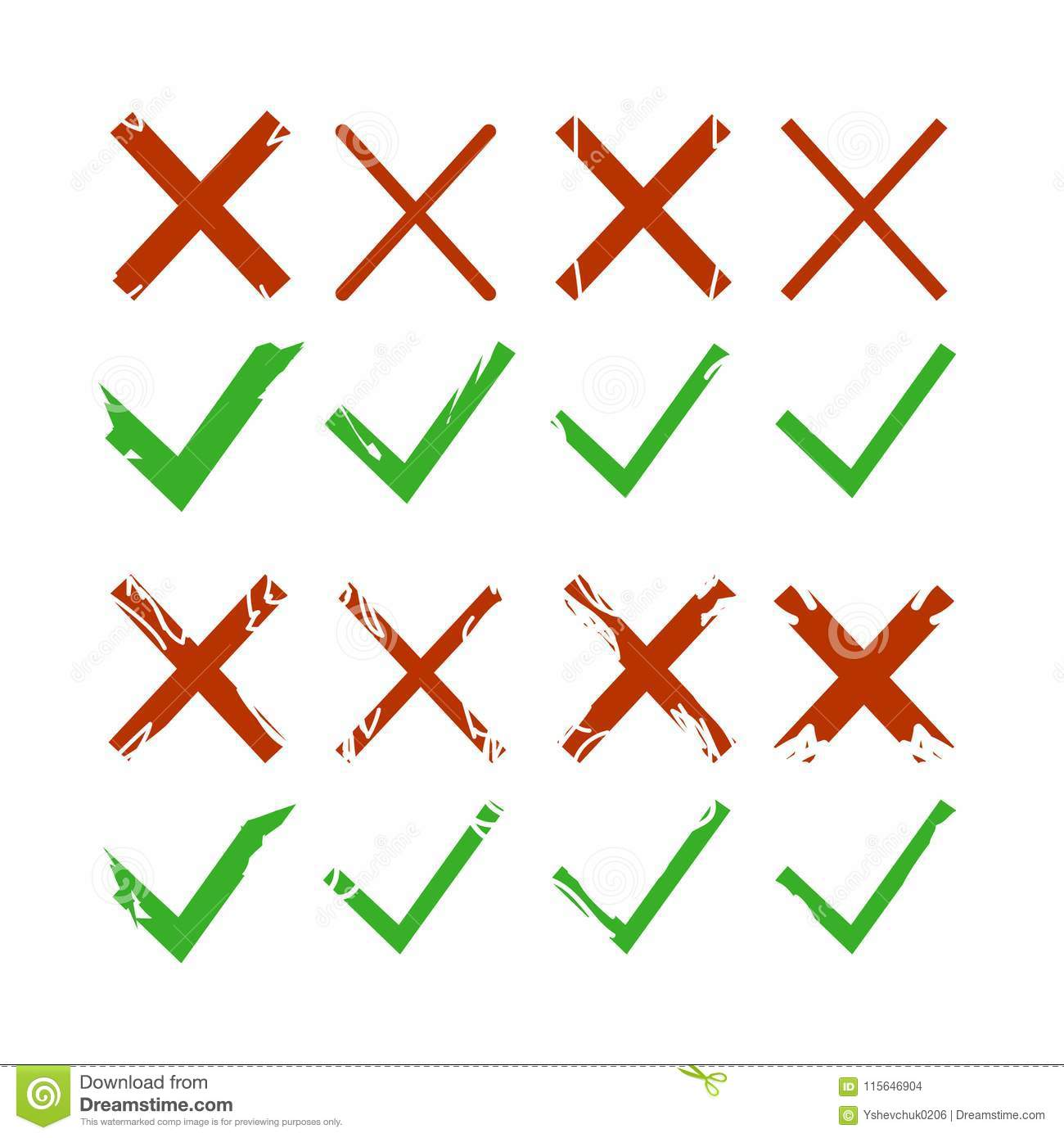 Green check, tick and red cross signs isolated on white background. Green checkmark OK and red X icons. Symbols YES and NO. Vector