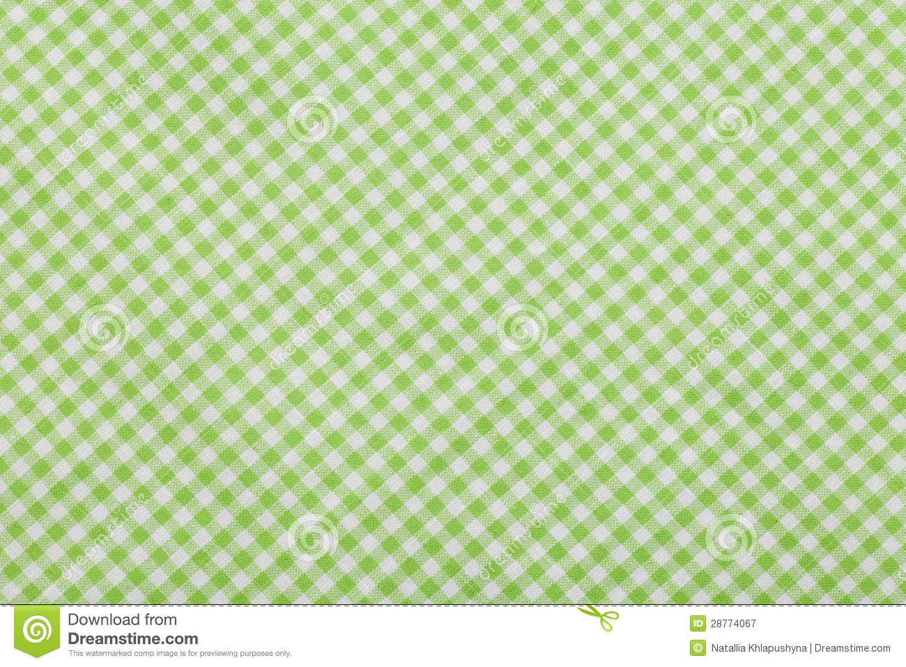 Green Checkered Tablecloth Background Stock Image