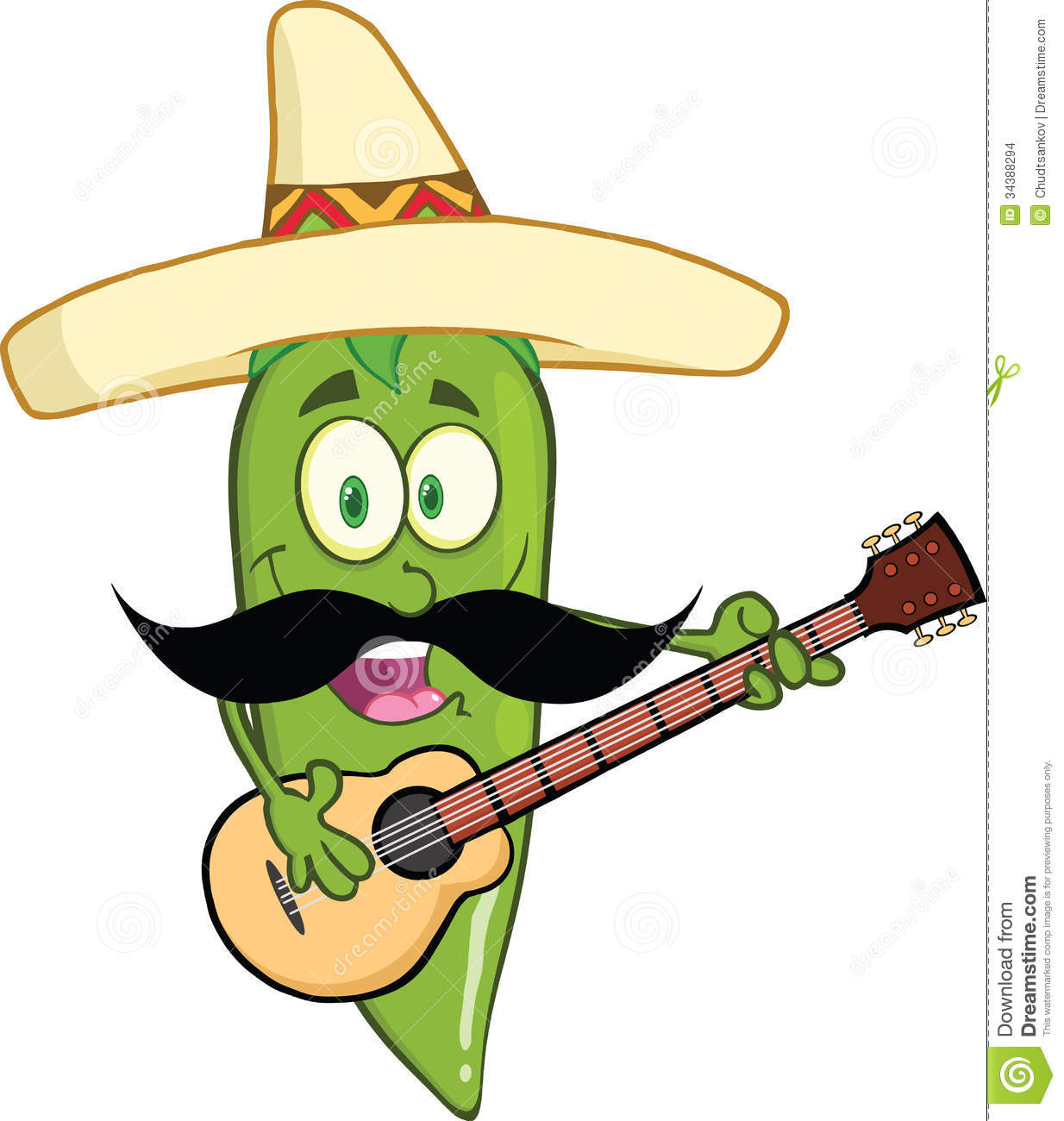 Green Chili Pepper Cartoon Character With Mexican Hat And