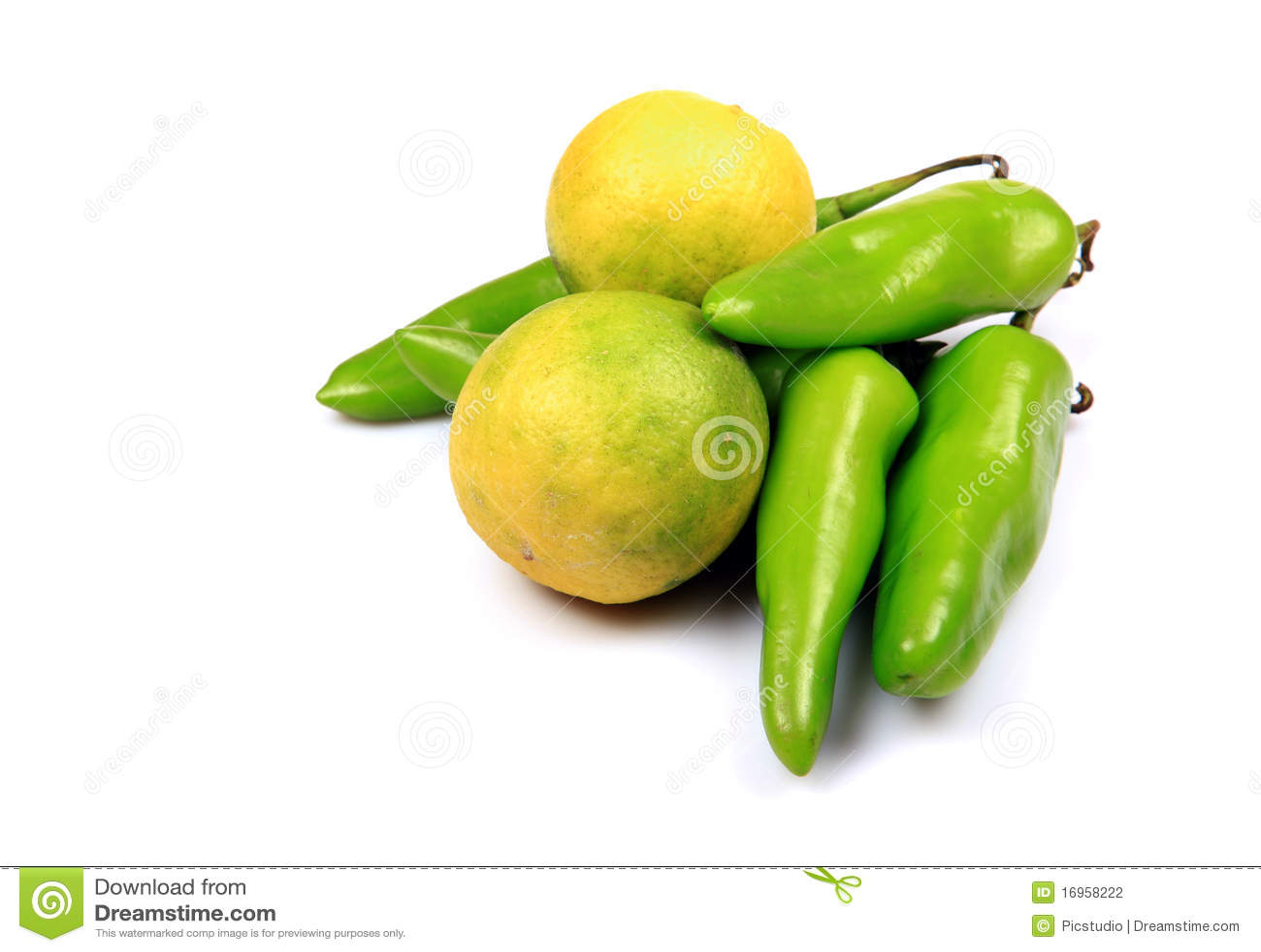 Green chillies and lemon
