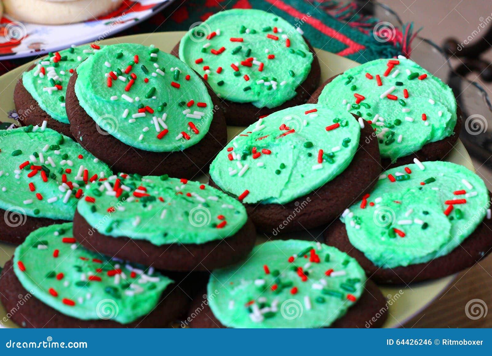 Green Chocolate Christmas Cookies Stock Photo - Image: 64426246