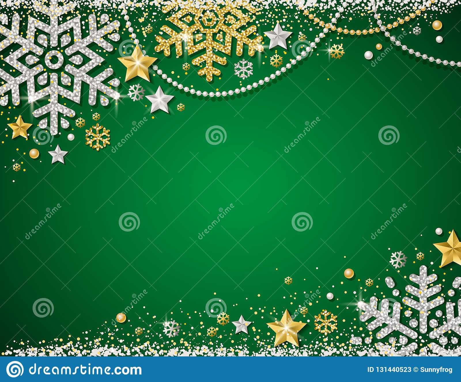 Green christmas background with frame of golden and silver glittering snowflakes, stars and garlands, vector