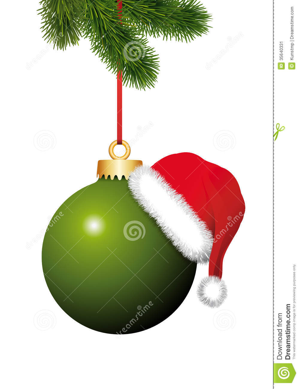 Green christmas ball with santa claus hat hanging on the
