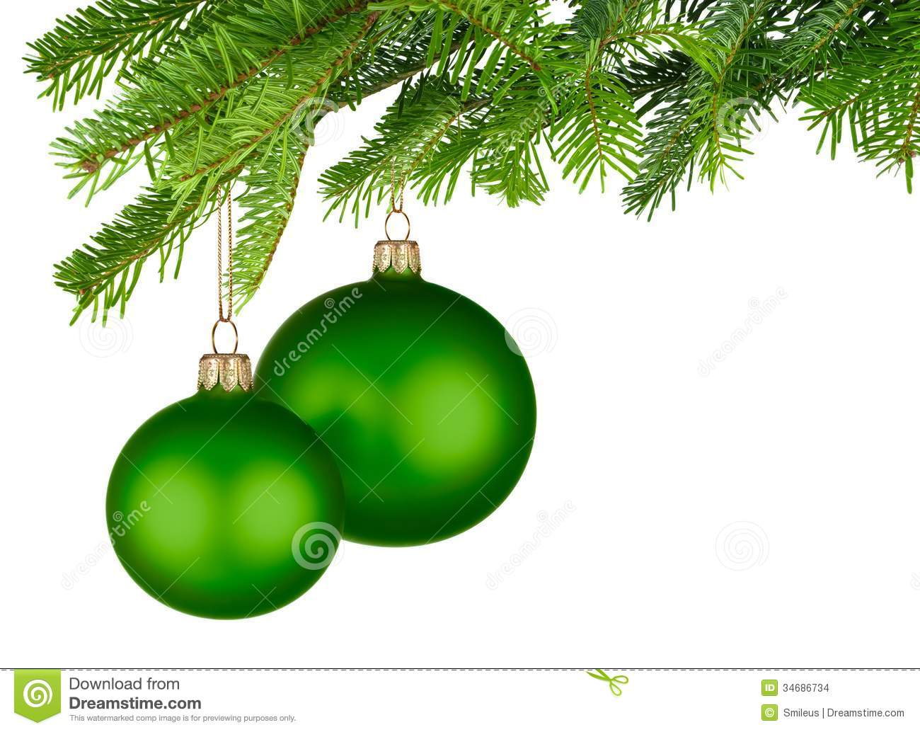 Christmas Green.Green Christmas Baubles Hanging From Fresh Green Twigs Stock