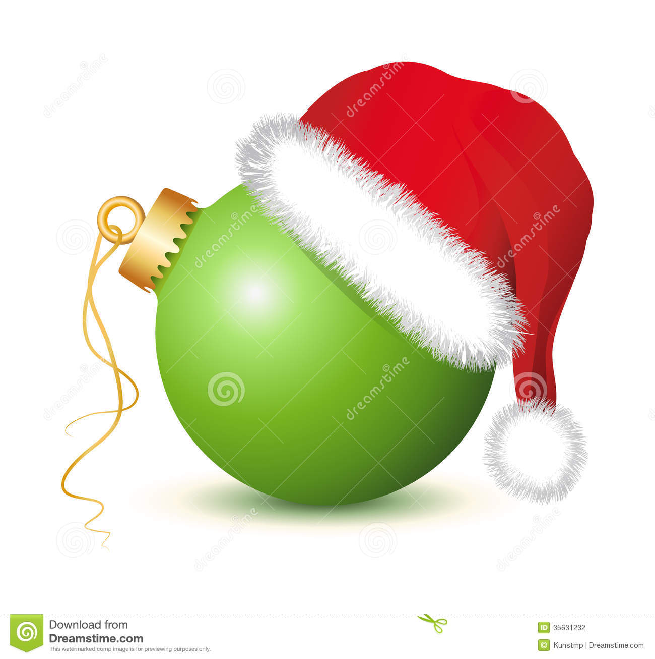 Green Christmas Baubles With Santa Claus Hat