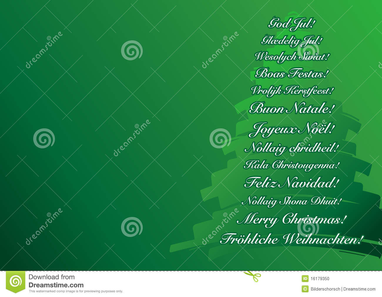 Green christmas card stock photo image 16179350 for Green in different languages