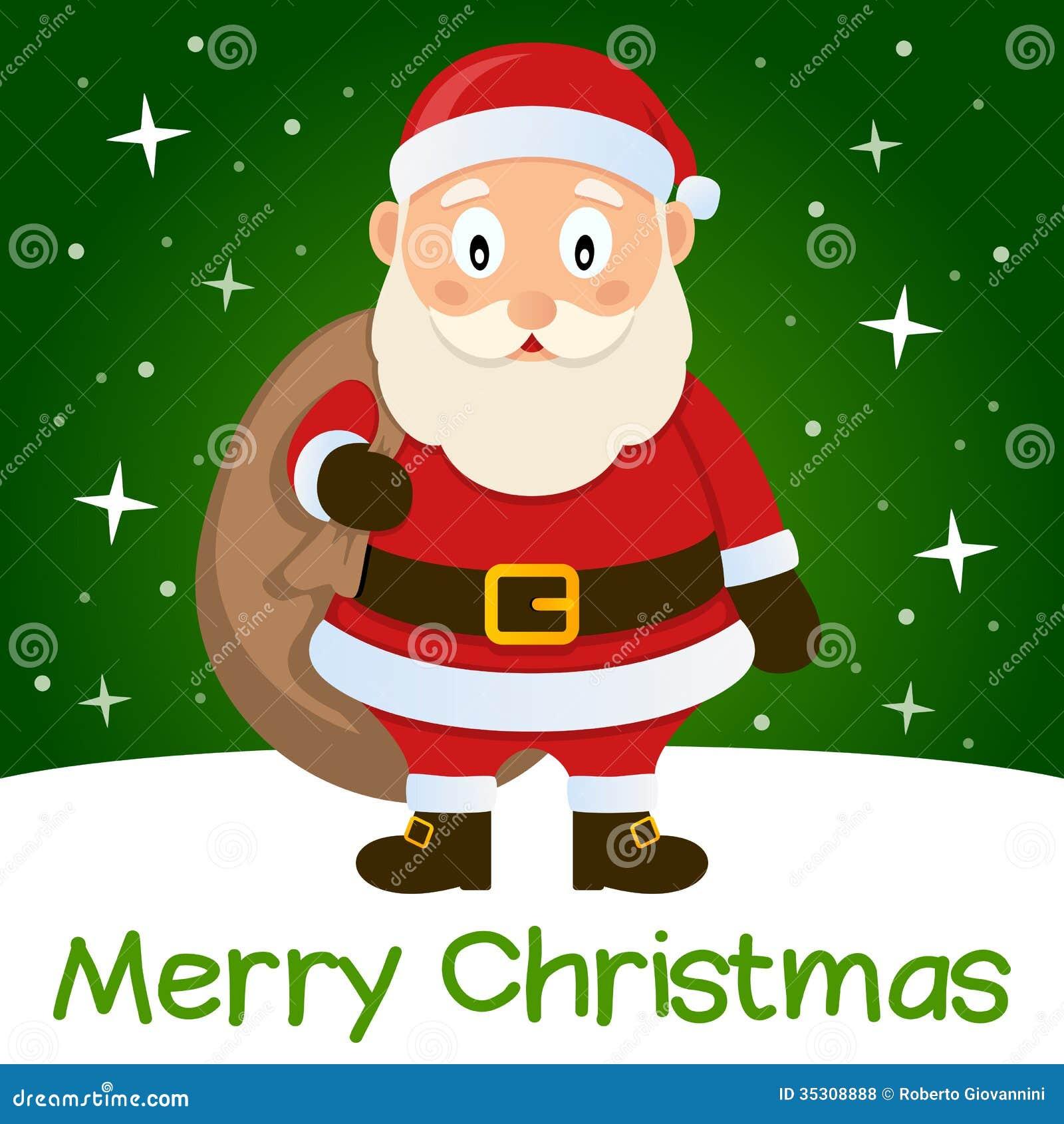 Green Christmas Card Santa Claus Stock Vector