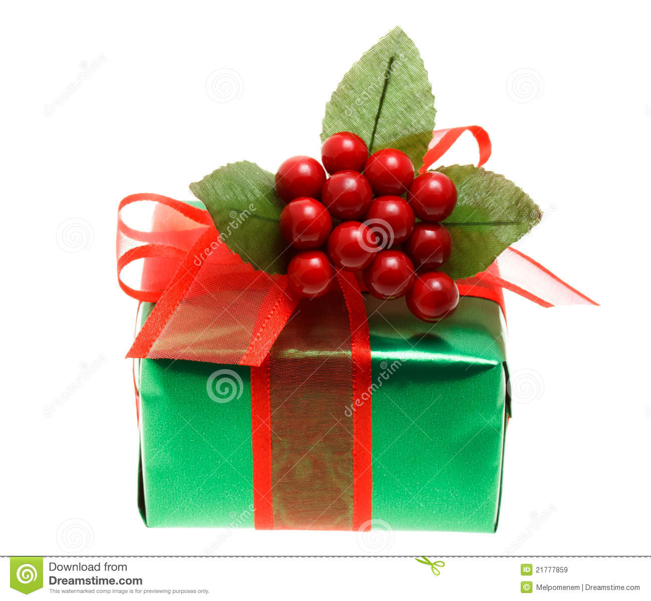 Green christmas gift box stock image of ornate