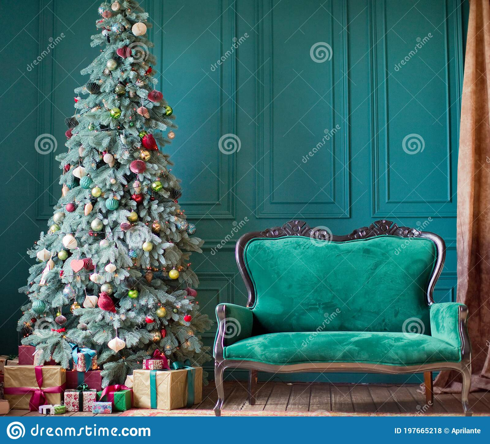 Green Christmas Interior With Decorations Stock Photo Image Of Natural Happy 197665218