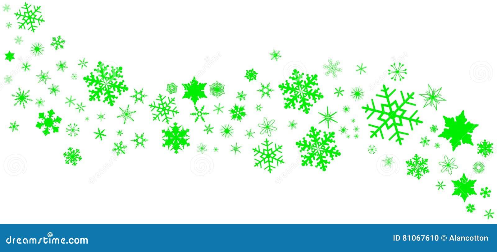 Green Christmas Snowflake Banner Stock Vector Illustration Of
