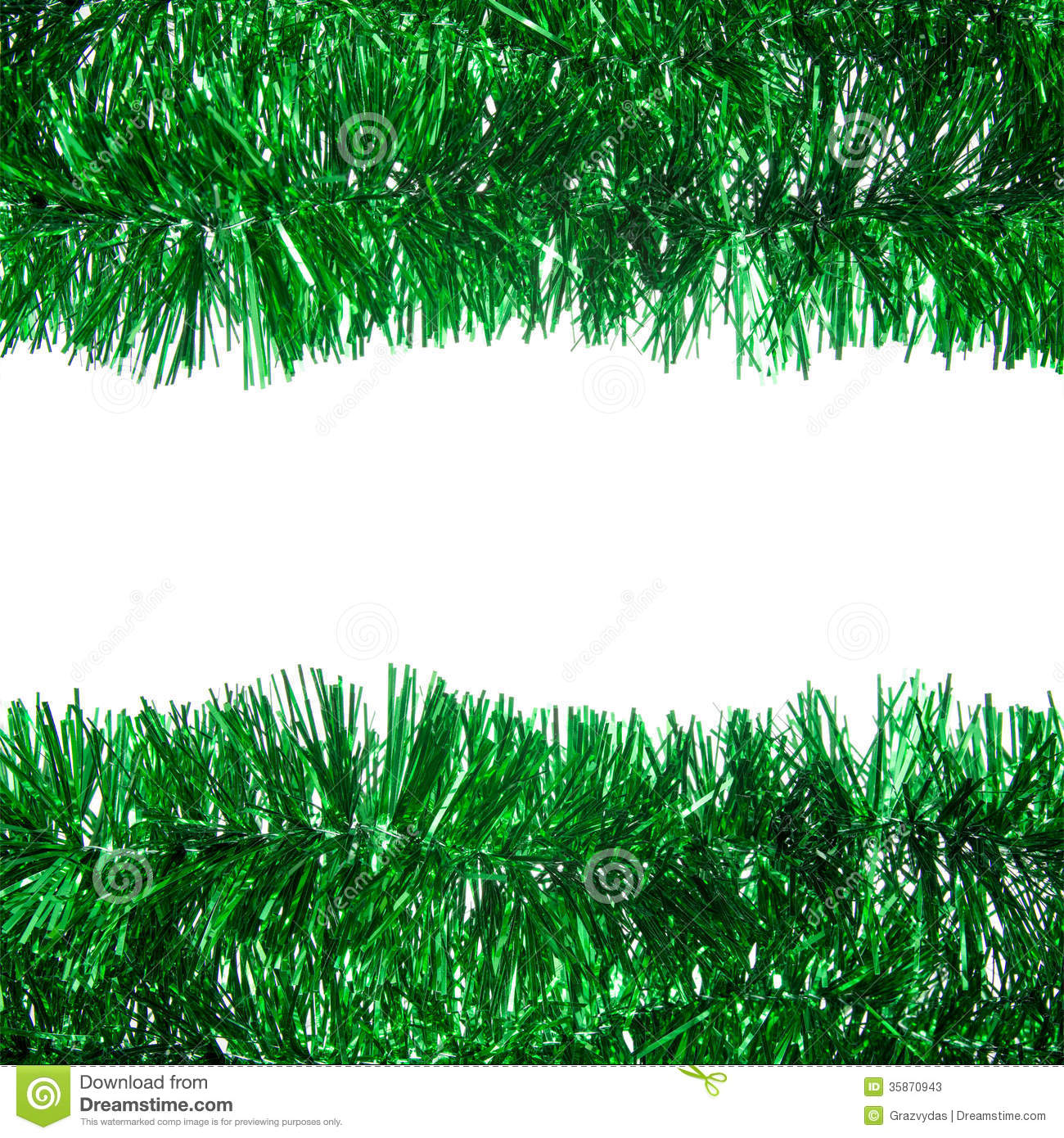 Green Tinsel Christmas Garland Stock Photo - Image: 62479307