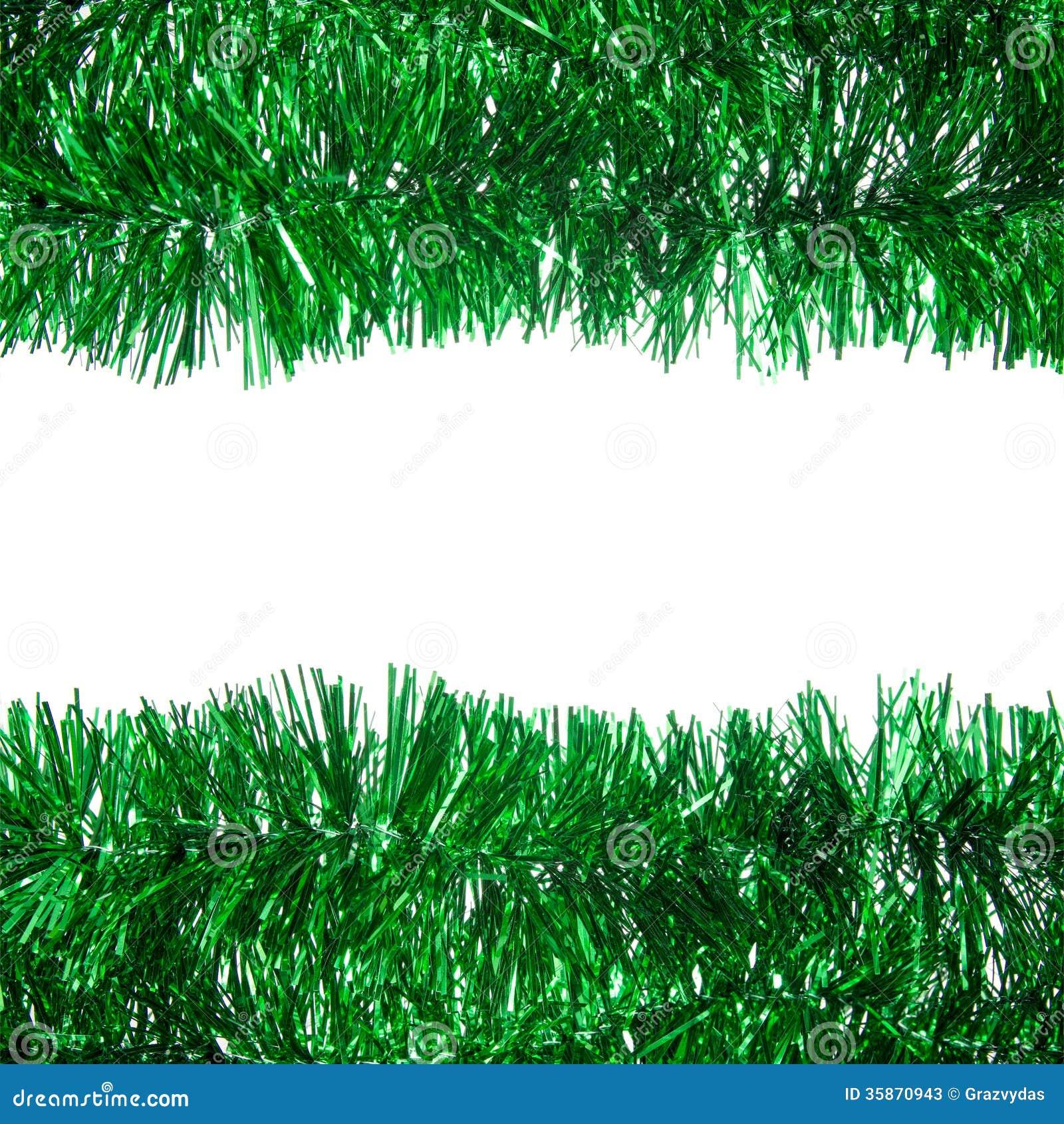 Green christmas tinsel frame stock image
