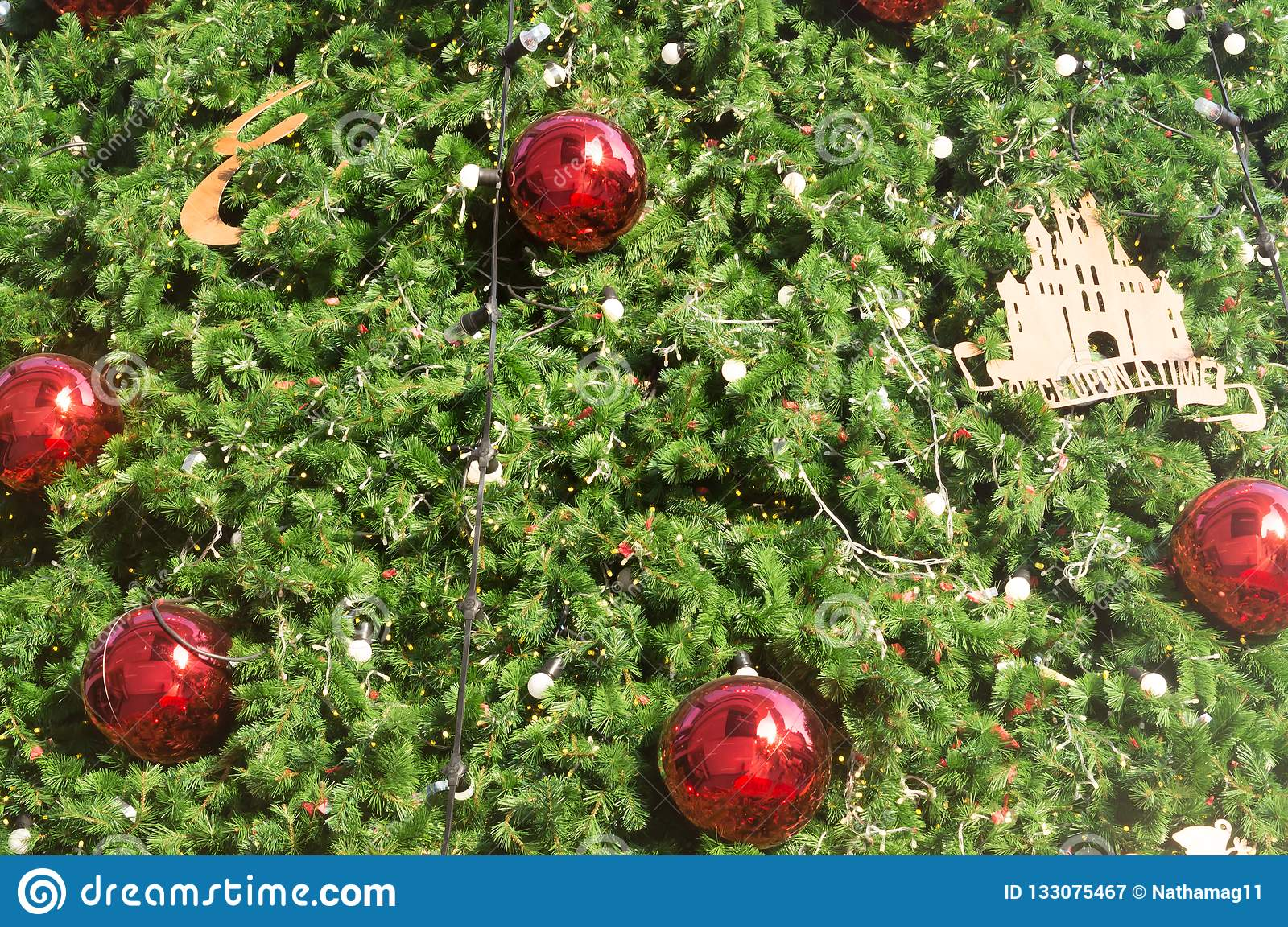 Green Christmas Tree Background With Bauble Red Metal Balls And Stock Image Image Of Close Celebration 133075467