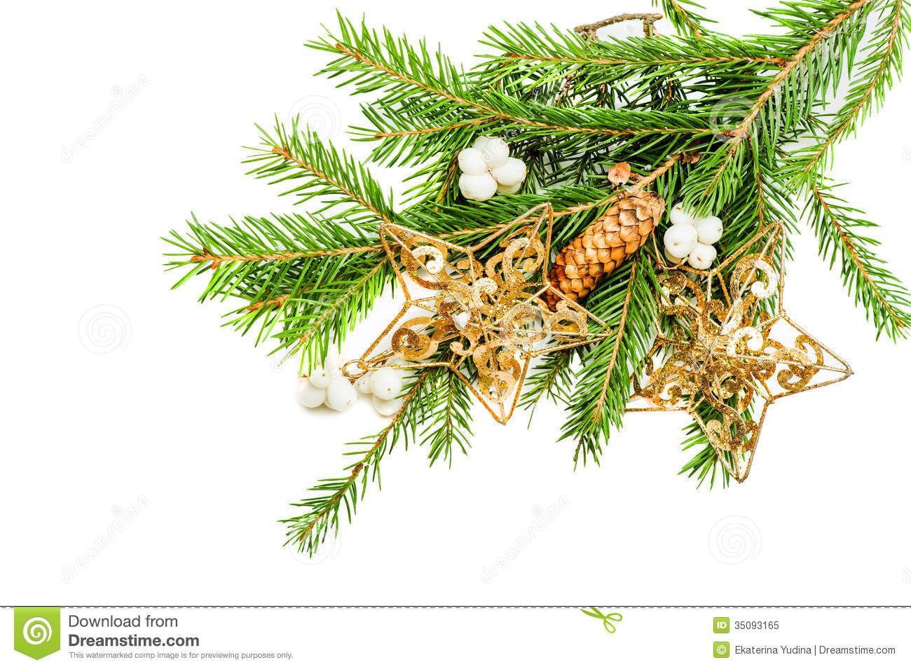 green christmas tree branch with decorations