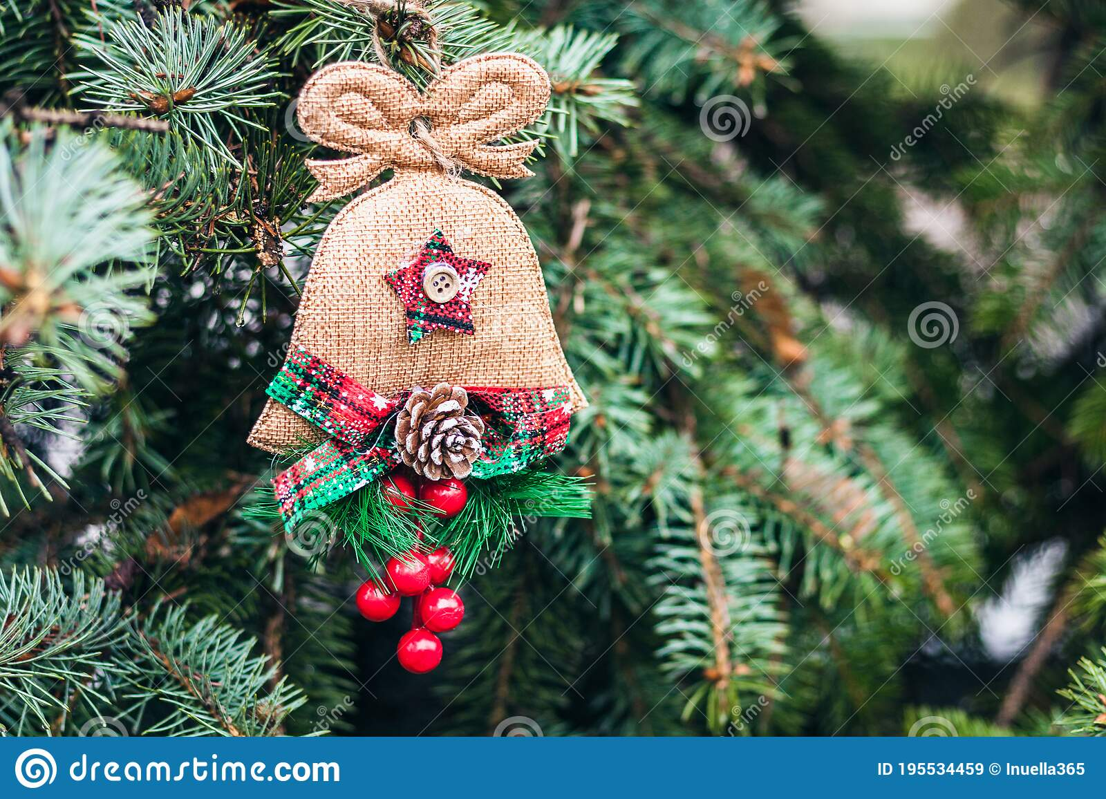 Green Christmas Tree Branch With A Homemade Burlap Toy New Year Background With Copy Space For Text Stock Image Image Of Plant Festive 195534459