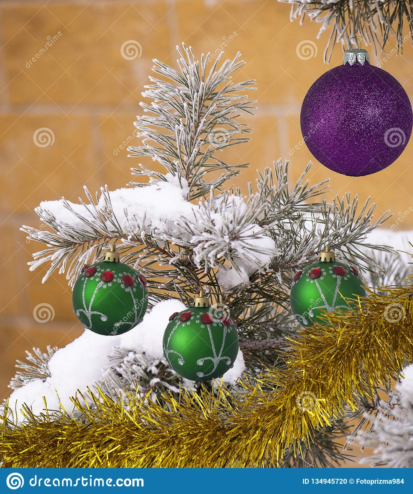 Powdered Christmas Tree Decorated With Purple Ball Golden Garland