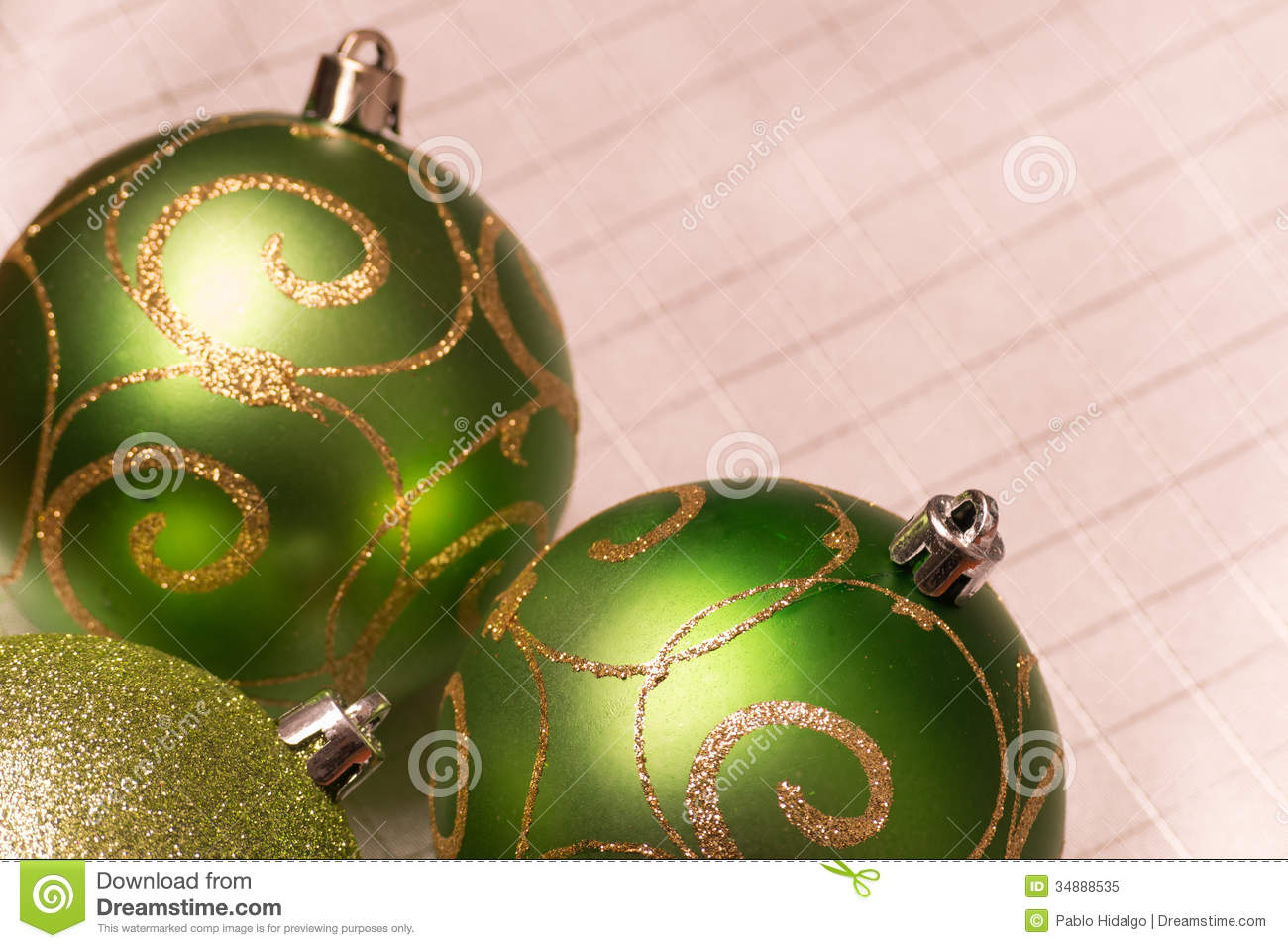 Green christmas tree decorations selective focus stock for A green christmas decoration