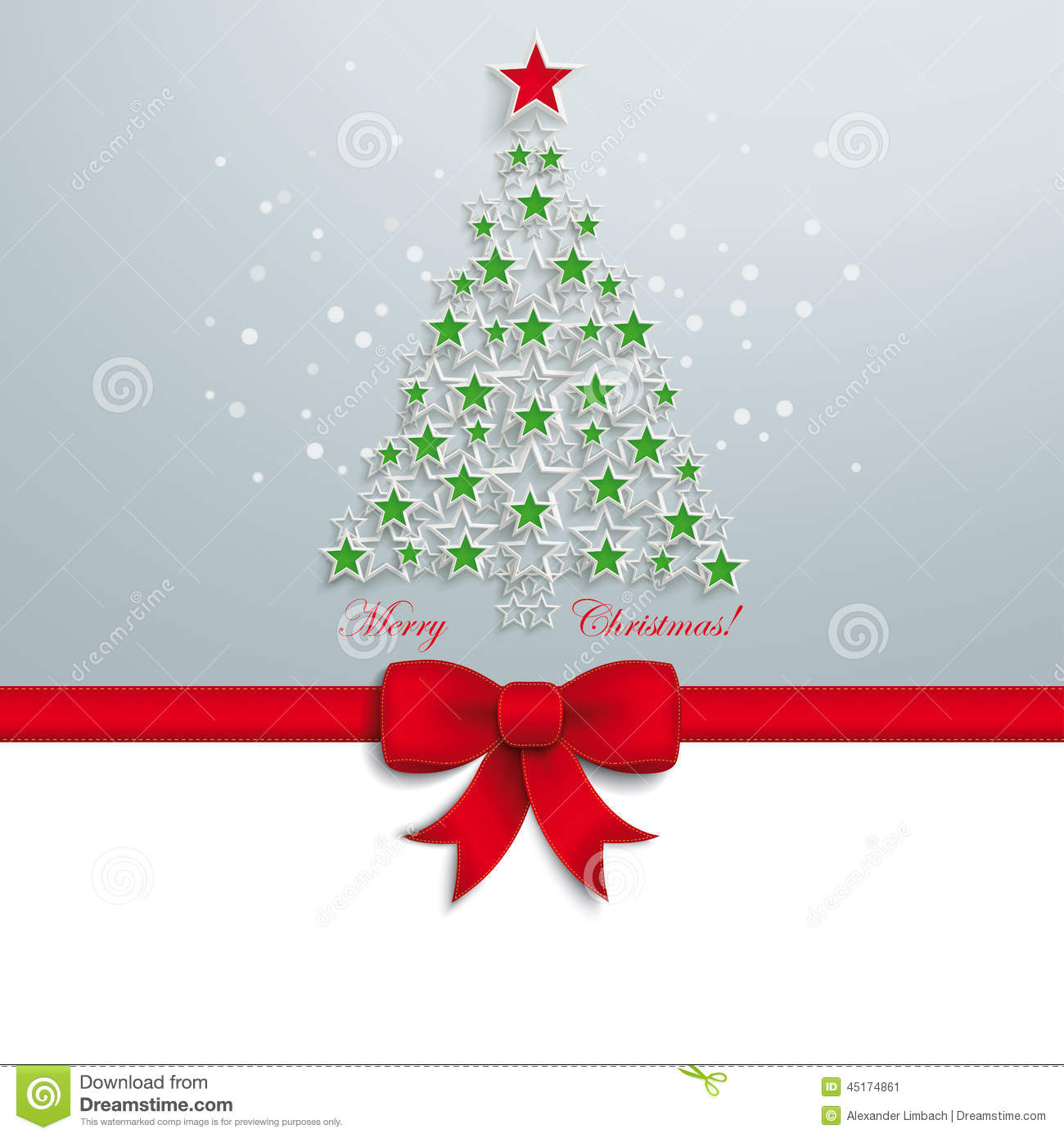 Green christmas tree red star ribbon stock vector image for Red ribbon around tree