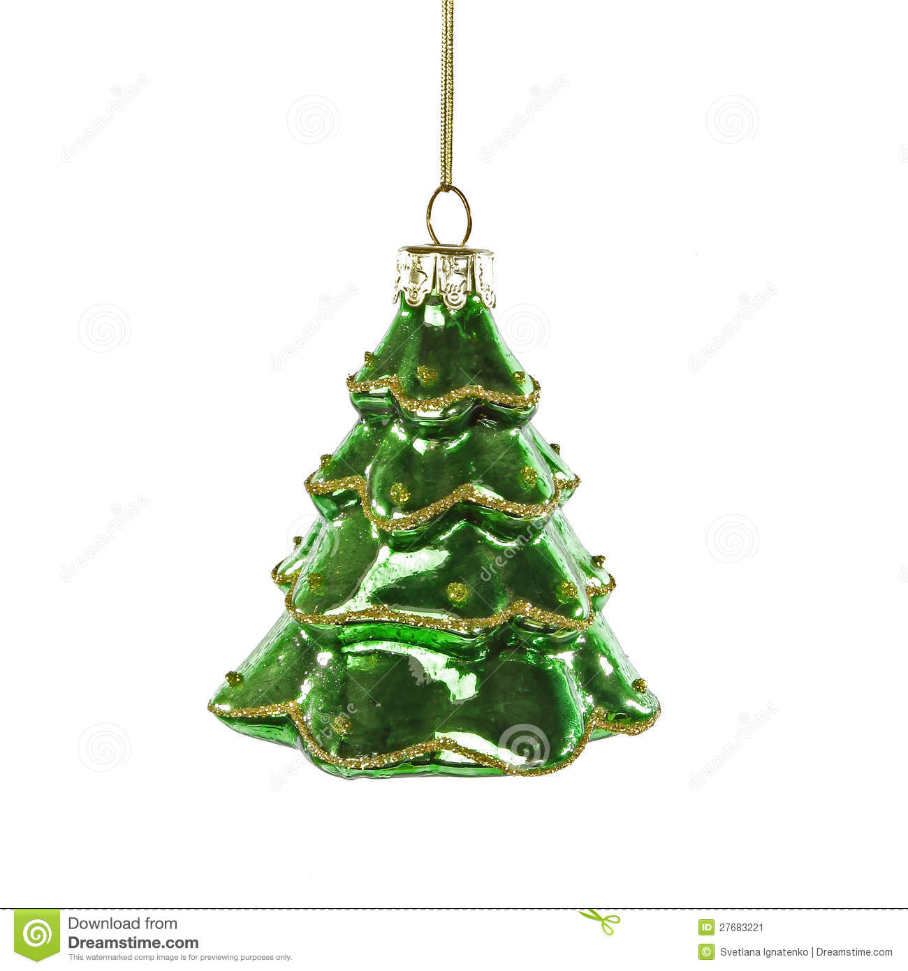 Christmas Tree With Toys : Green christmas tree toy on white background stock image