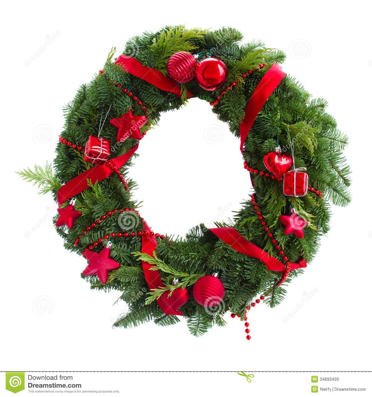 Green christmas wreath with red decorations stock photos for Red and green christmas decorations
