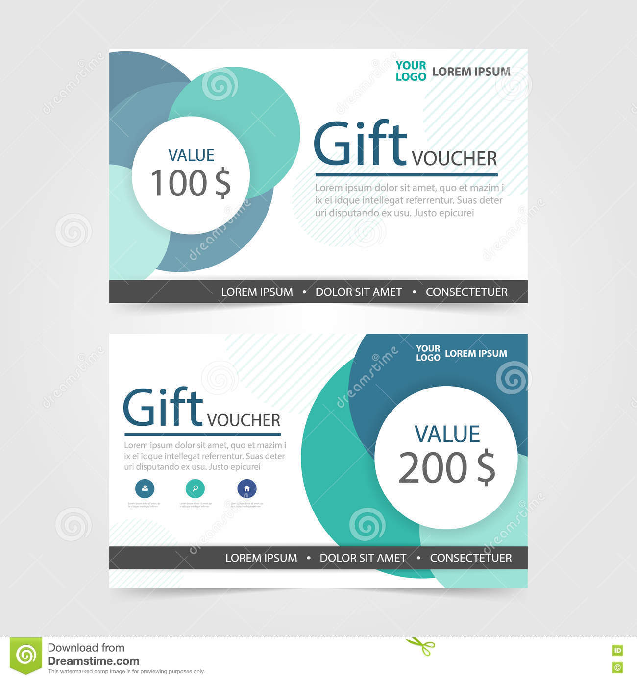 green circle gift voucher template with colorful pattern cute gift