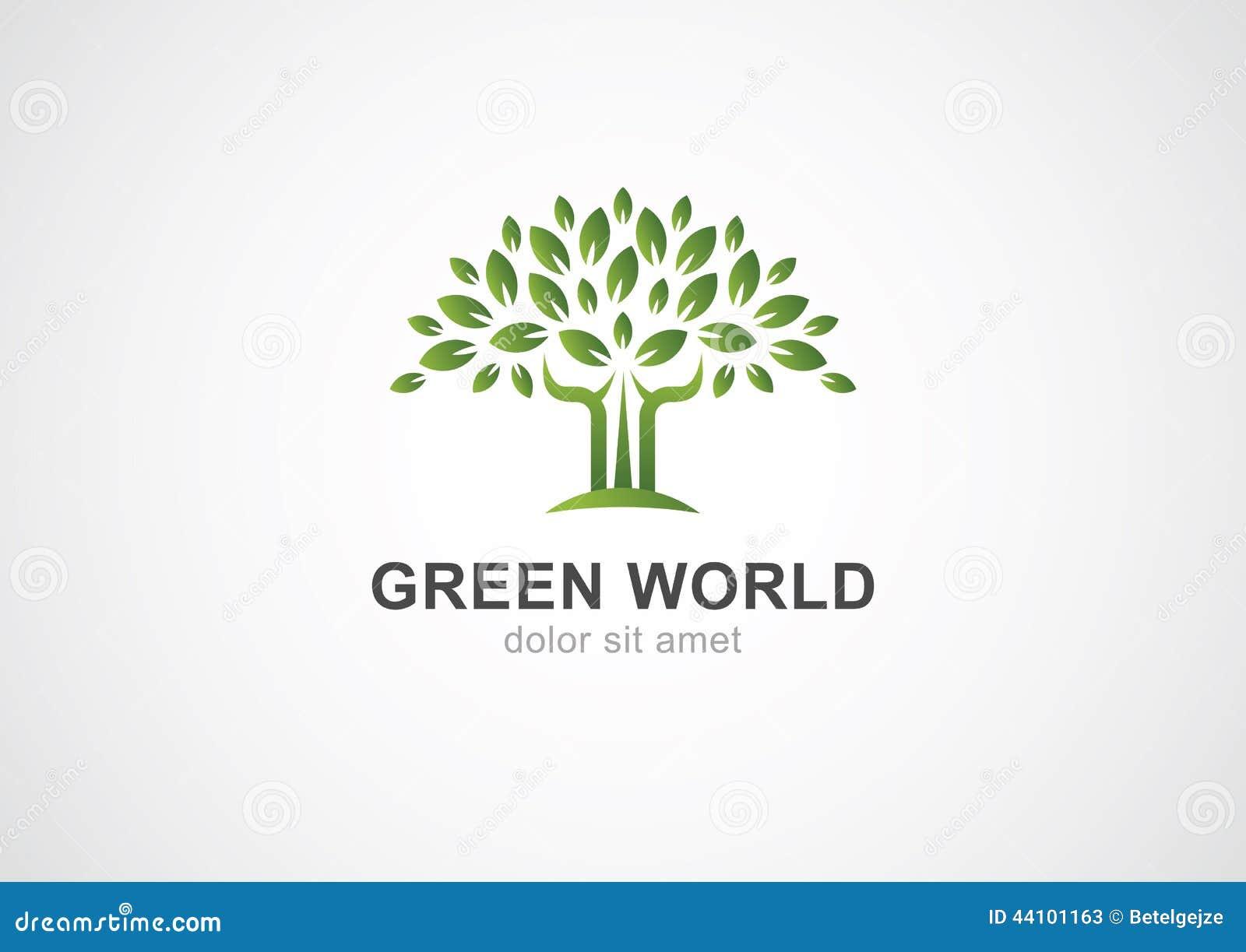 green circle tree vector logo design template  garden or