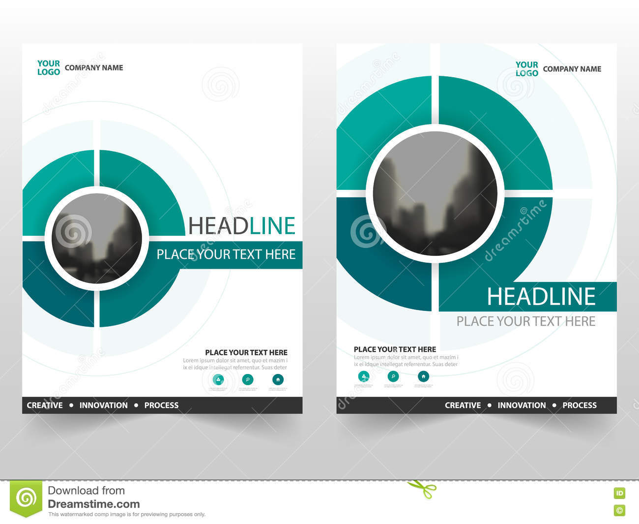 green circle vector annual report leaflet brochure flyer template