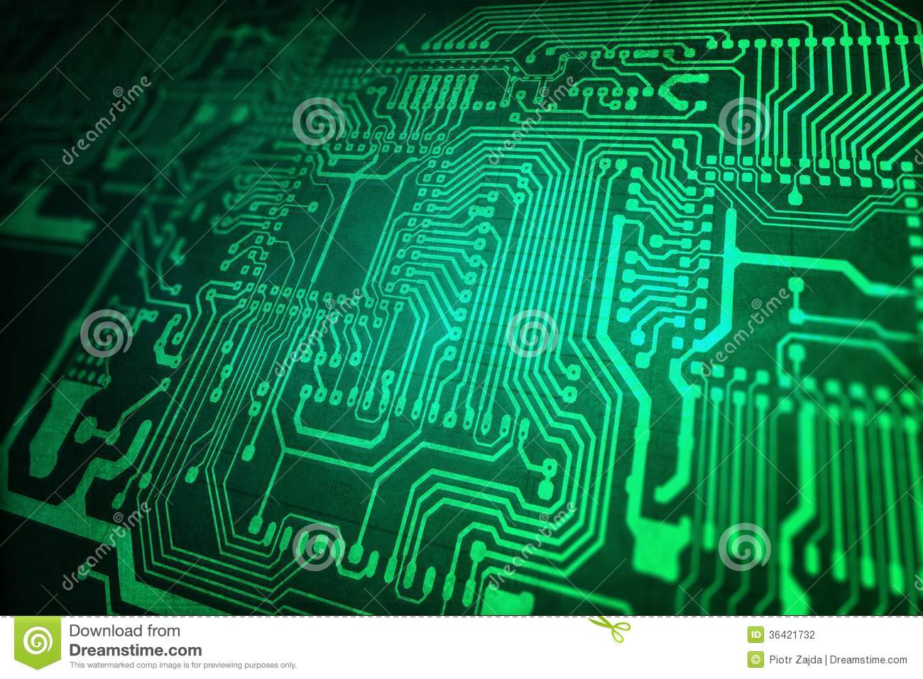 Motherboard Circuit Illustration: Green Circuit Board Stock Photography