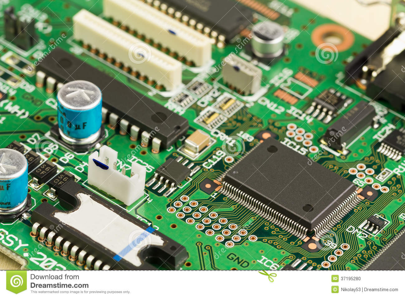 Green Circuit Board With Components Stock Photo Image Of Radio