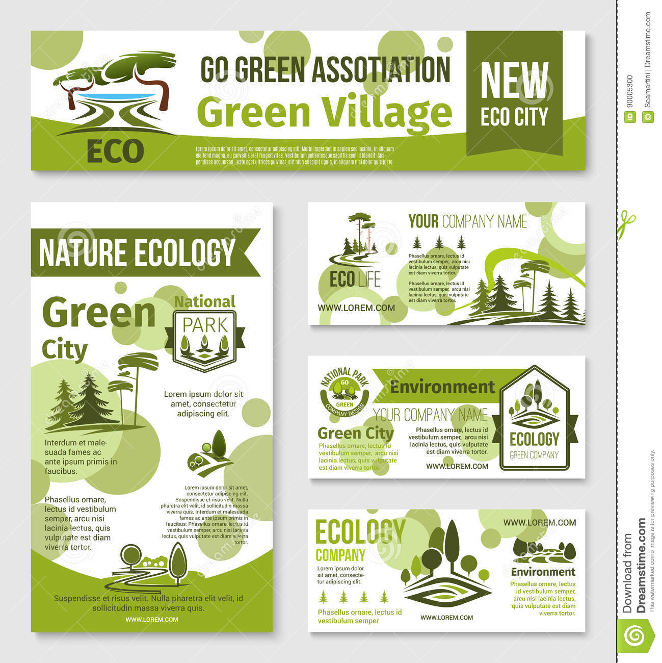 Nature Ecology: Green City, Eco Business Banner Template Design Stock