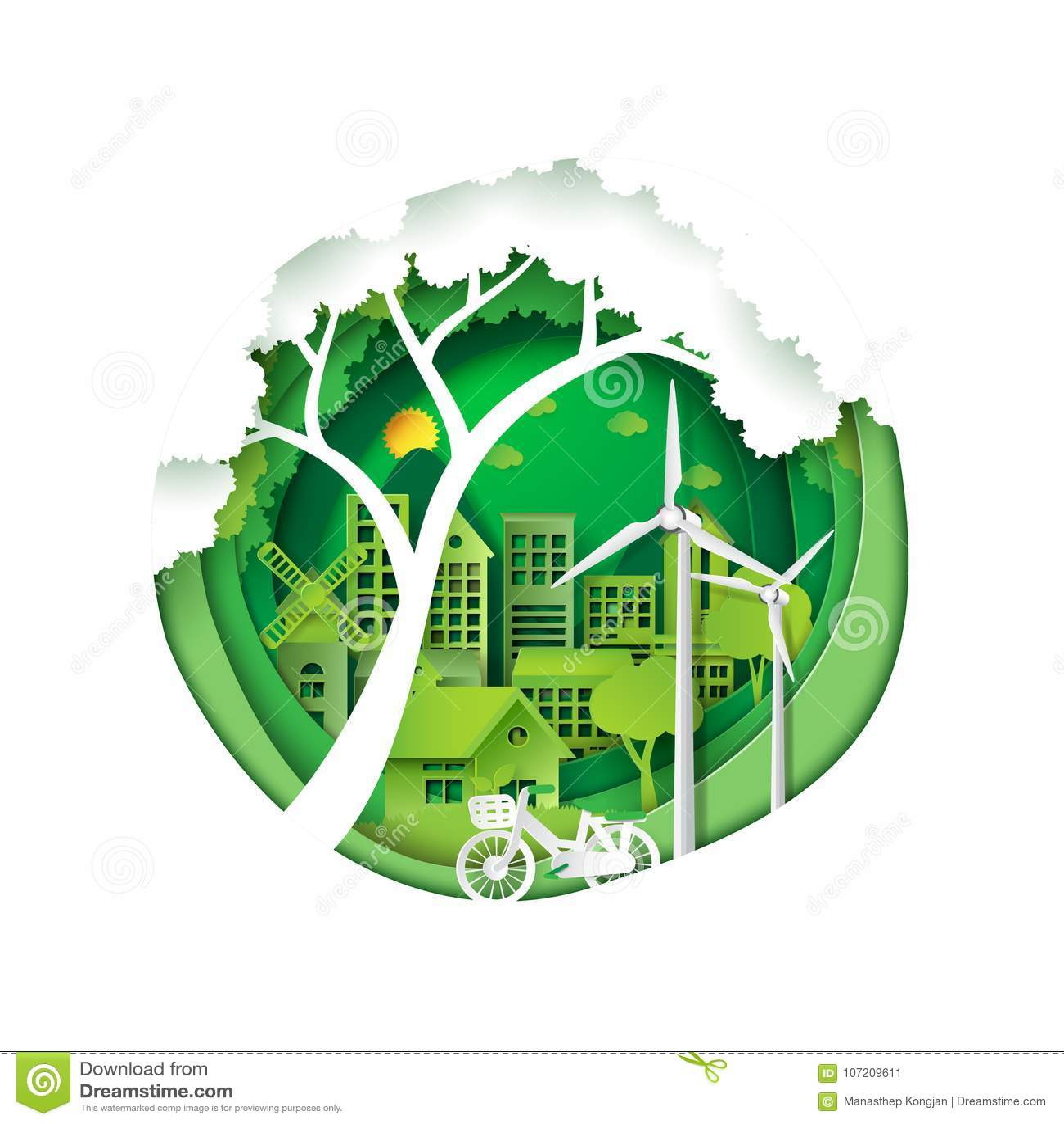 Environmental Concept Earthfriendly Landscapes: Green City For Environment Conservation Stock Vector