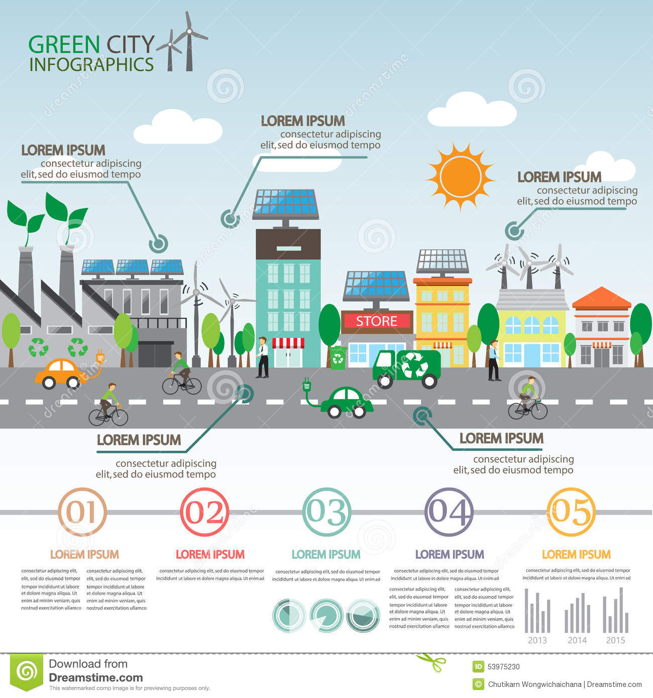 Green City Infographics Stock Vector Image 53975230