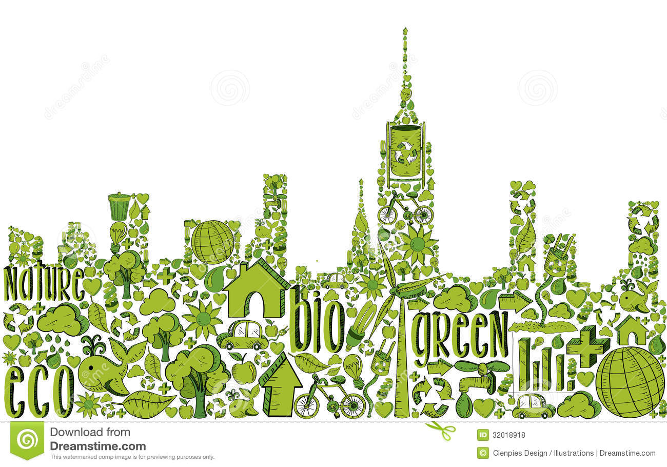 Green City Silhouette With Environmental Icons Royalty