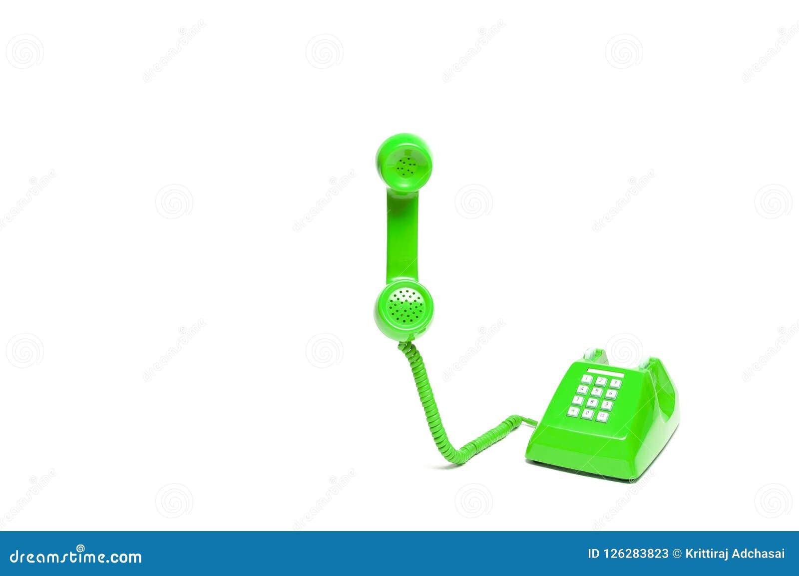 Green classic telephone
