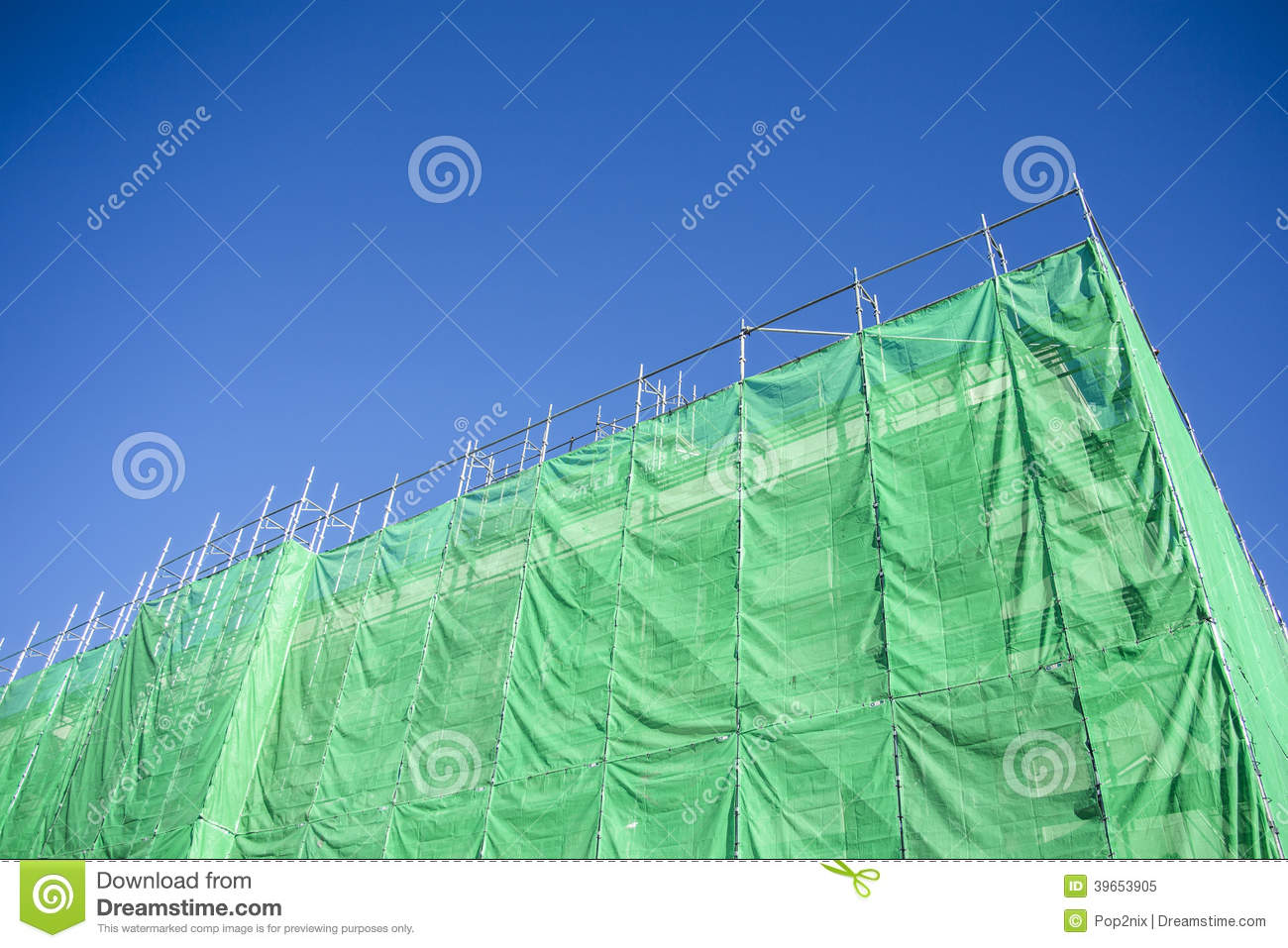 Green Cloth Cover On Building Stock Image Image Of