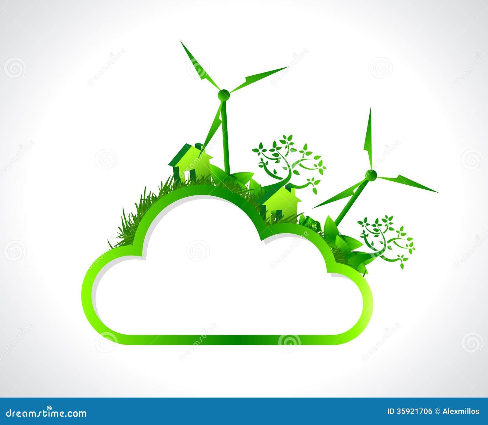 green cloud hanging banner illustration design stock