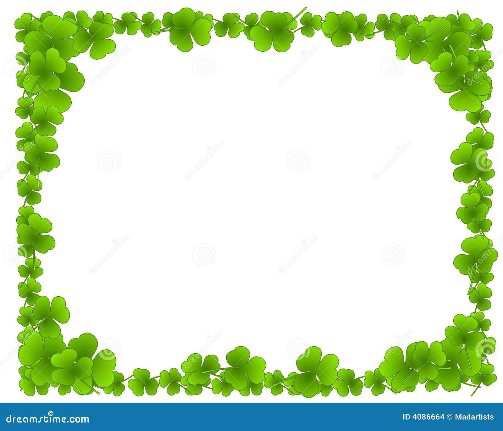 Green Clover Leaves Leaf Border Frame Stock Images - Image: 4086664
