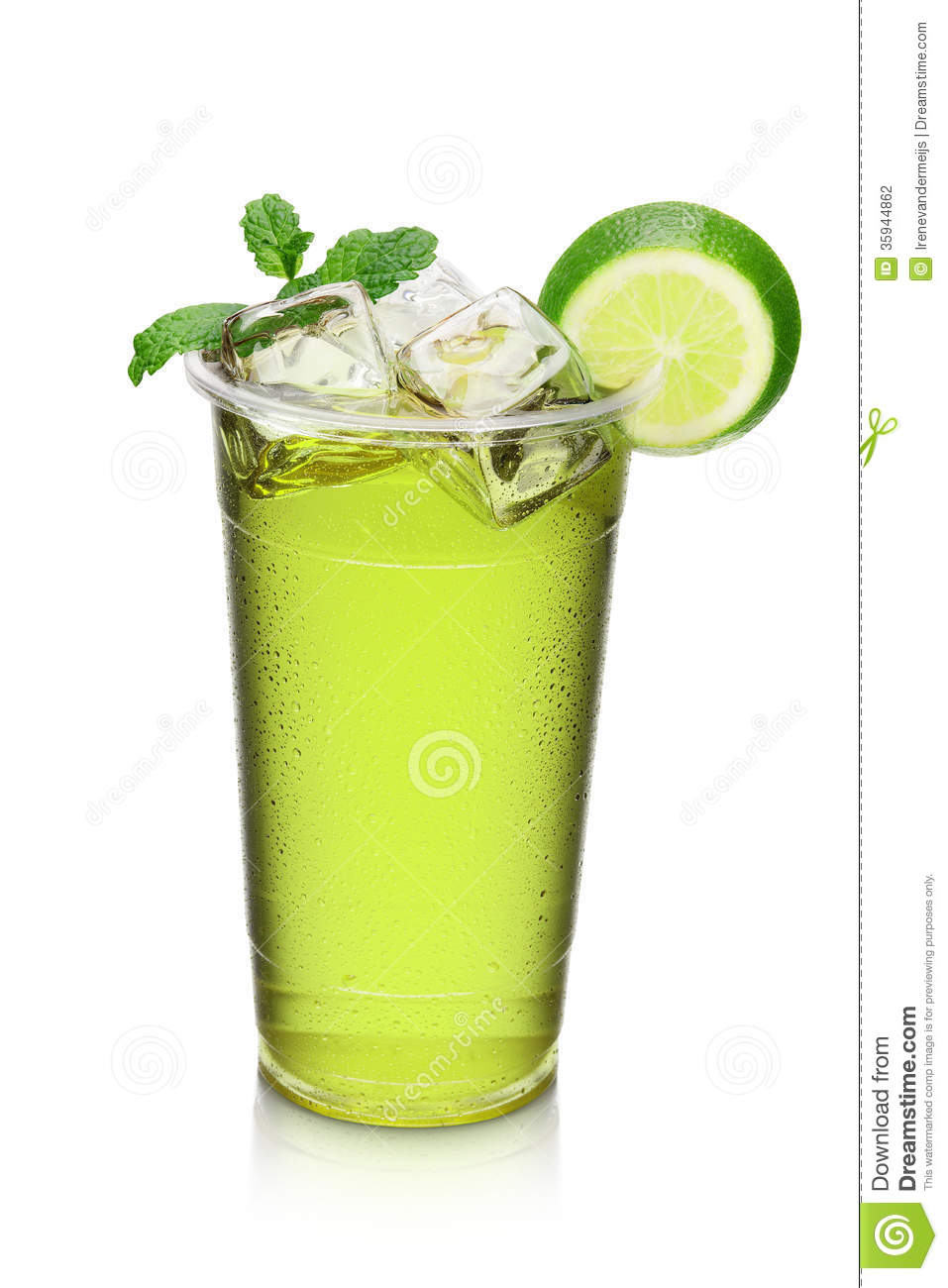 Green cocktail drink with lime slice and mint stock photo for Mixed drinks with green tea