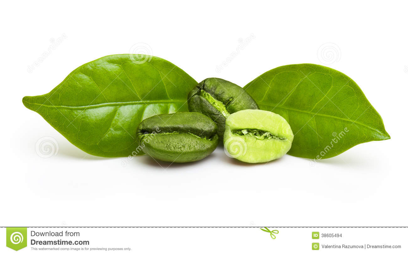 Green Coffee Beans With Leaf Stock Photo Image 38605494