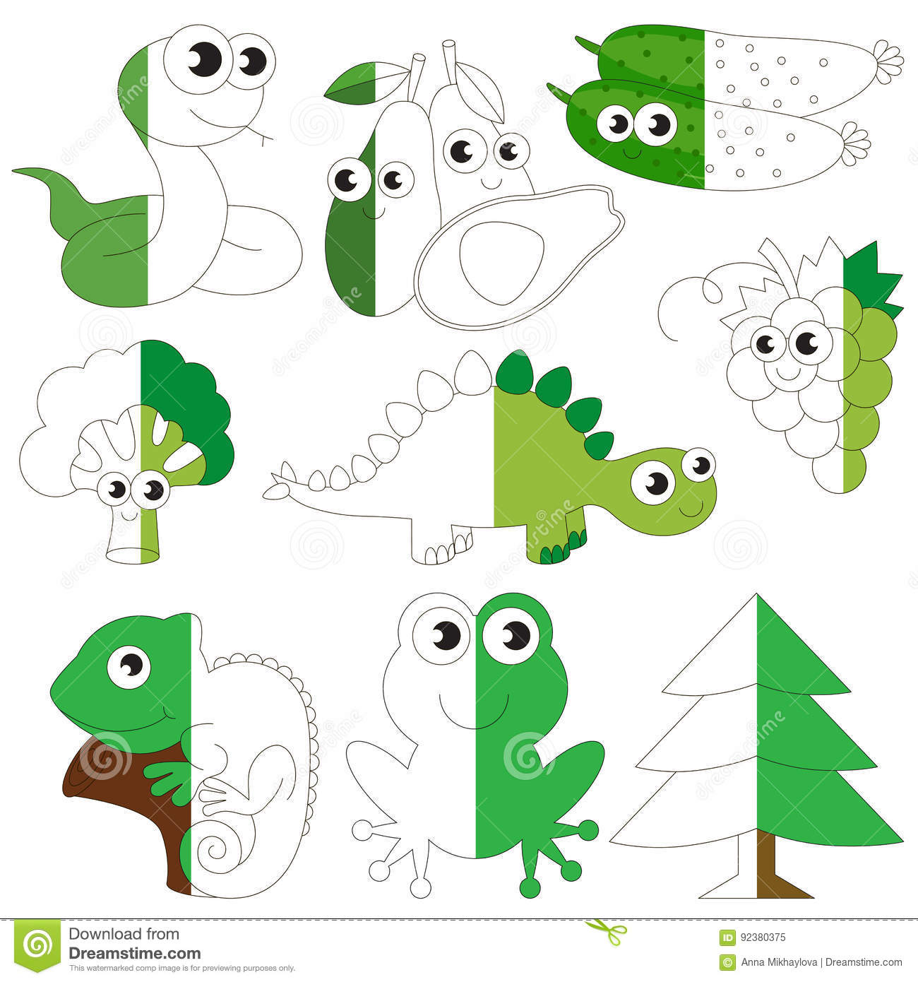 Green Color Animals, Fruits And Vegetables, The Big Kid Game To Be ...