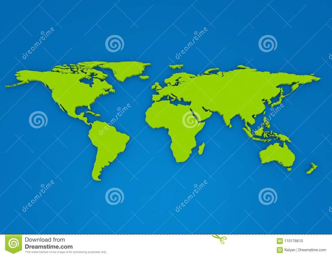 Green colour 3d extruded world map on blue background stock a green color flat world map extruded in 3d with shadow on a grey background gumiabroncs Gallery