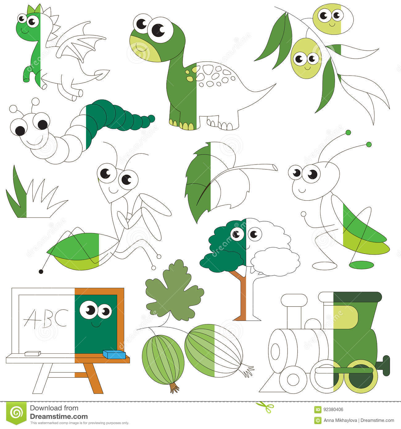 Green Color Objects, The Big Kid Game To Be Colored By Example Half ...