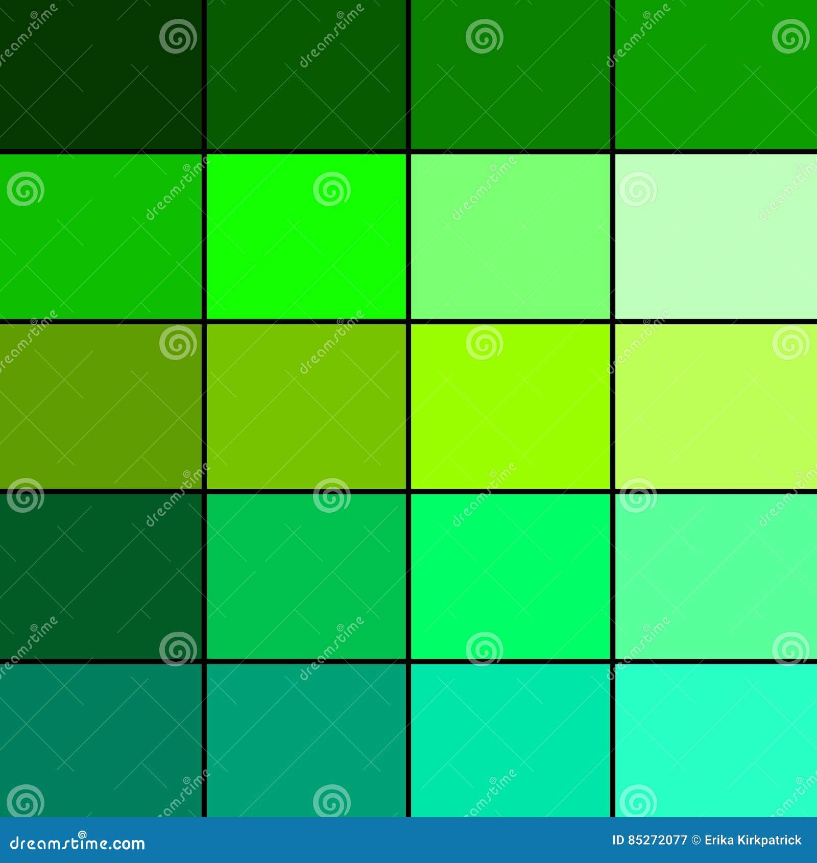 Green Color Palette Stock Illustration. Illustration Of