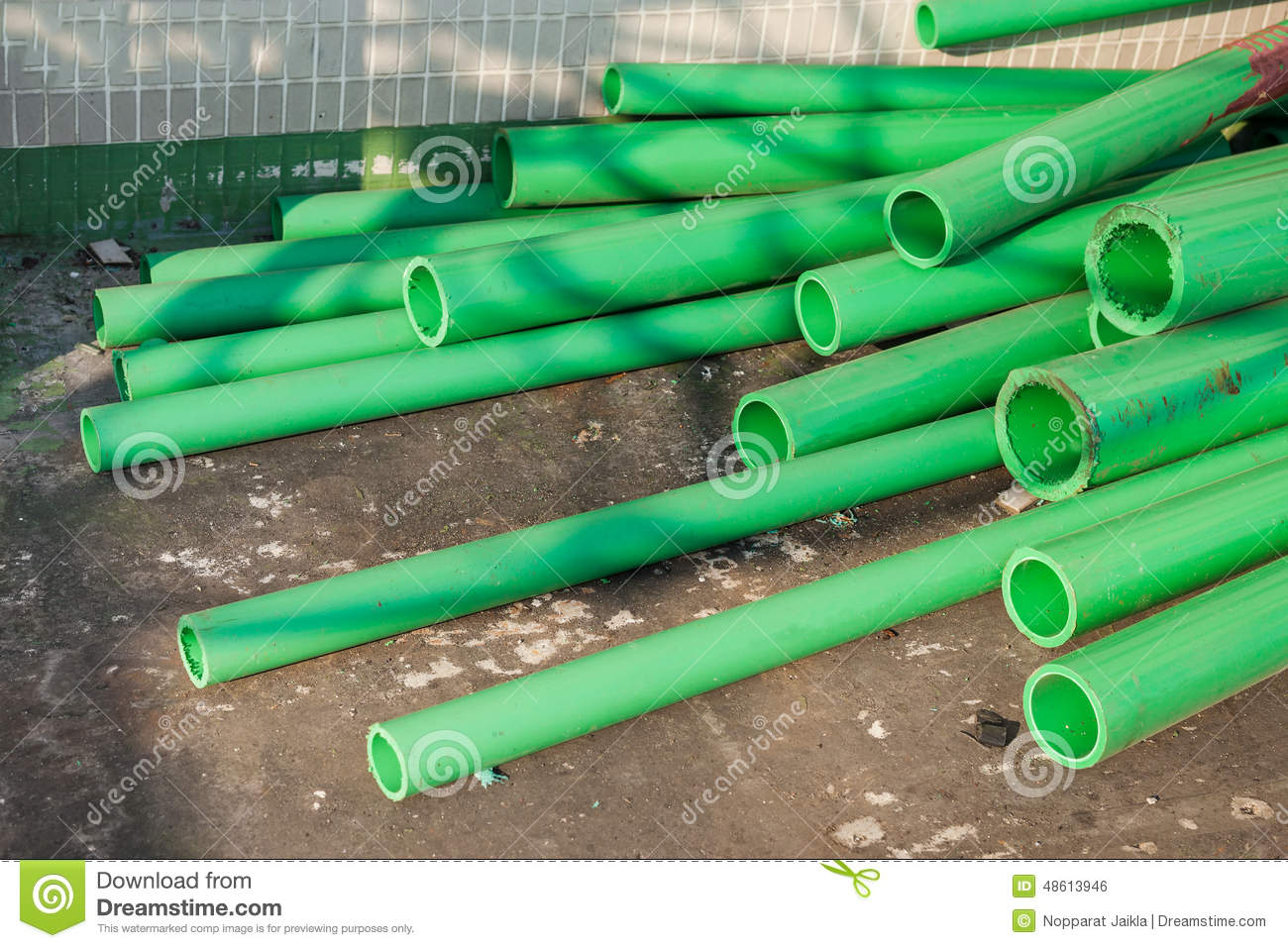 Green color plastic tubes for industry stock photo image for Tubi plumbing di plastica