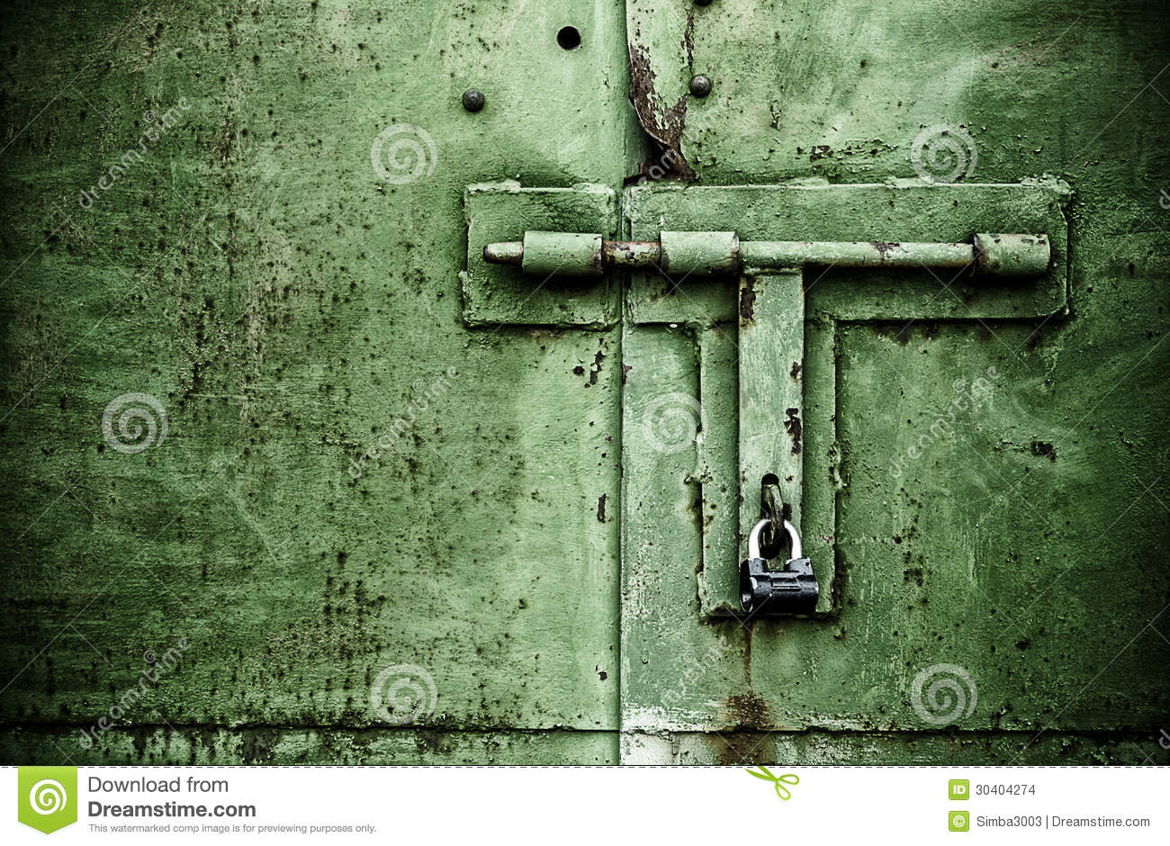 Green Color Rusty Door Close Up Detail With Padlock And
