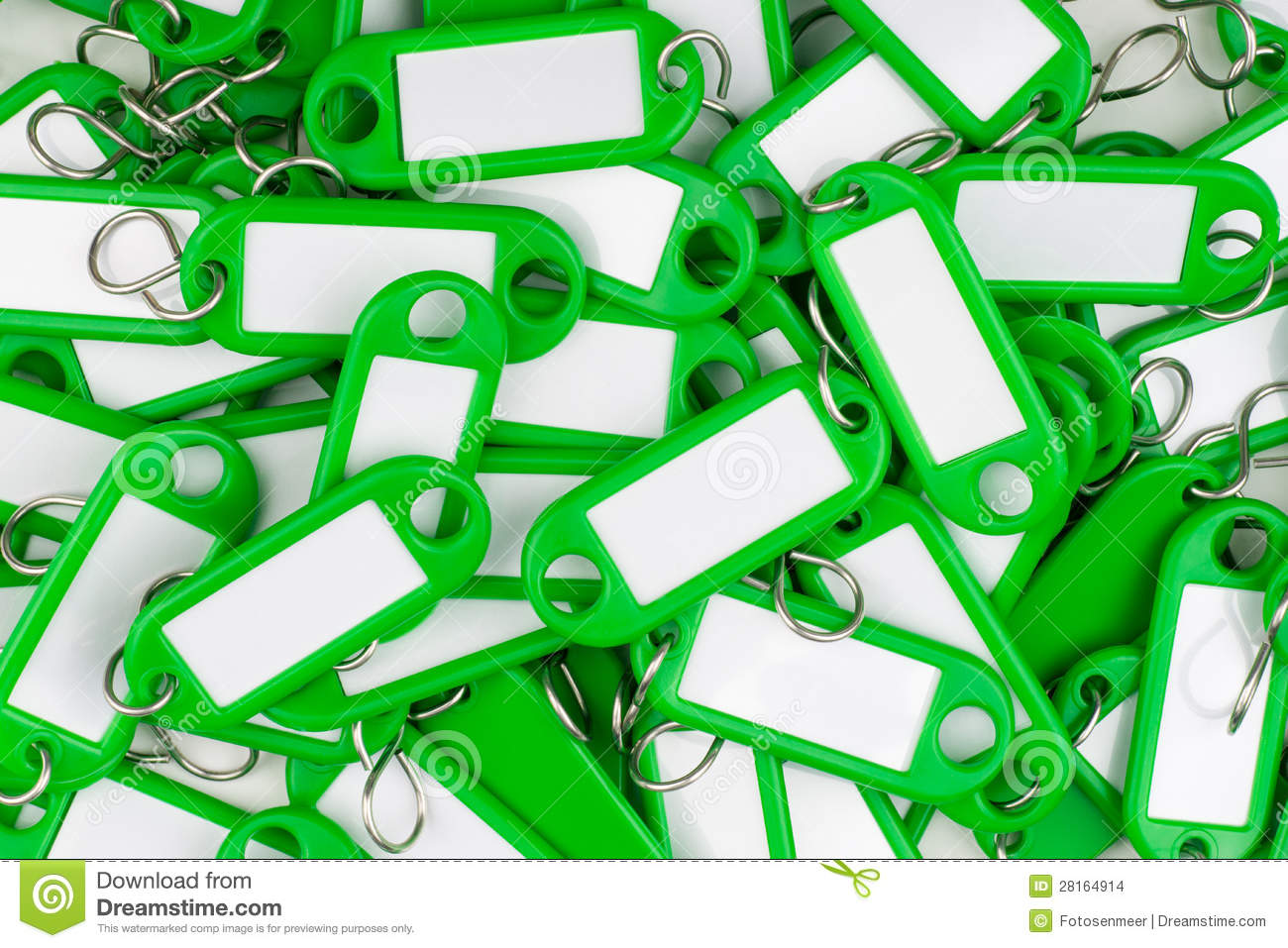 Green colored key rings stock photo  Image of label, bright