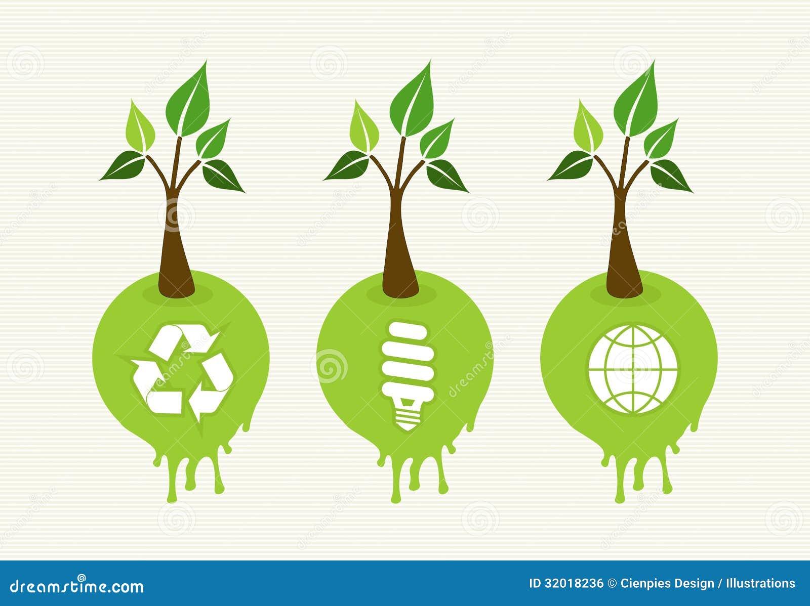 Скачать Eco Technology Flat Icons: Green Concept Tree Icon Set Royalty Free Stock Image