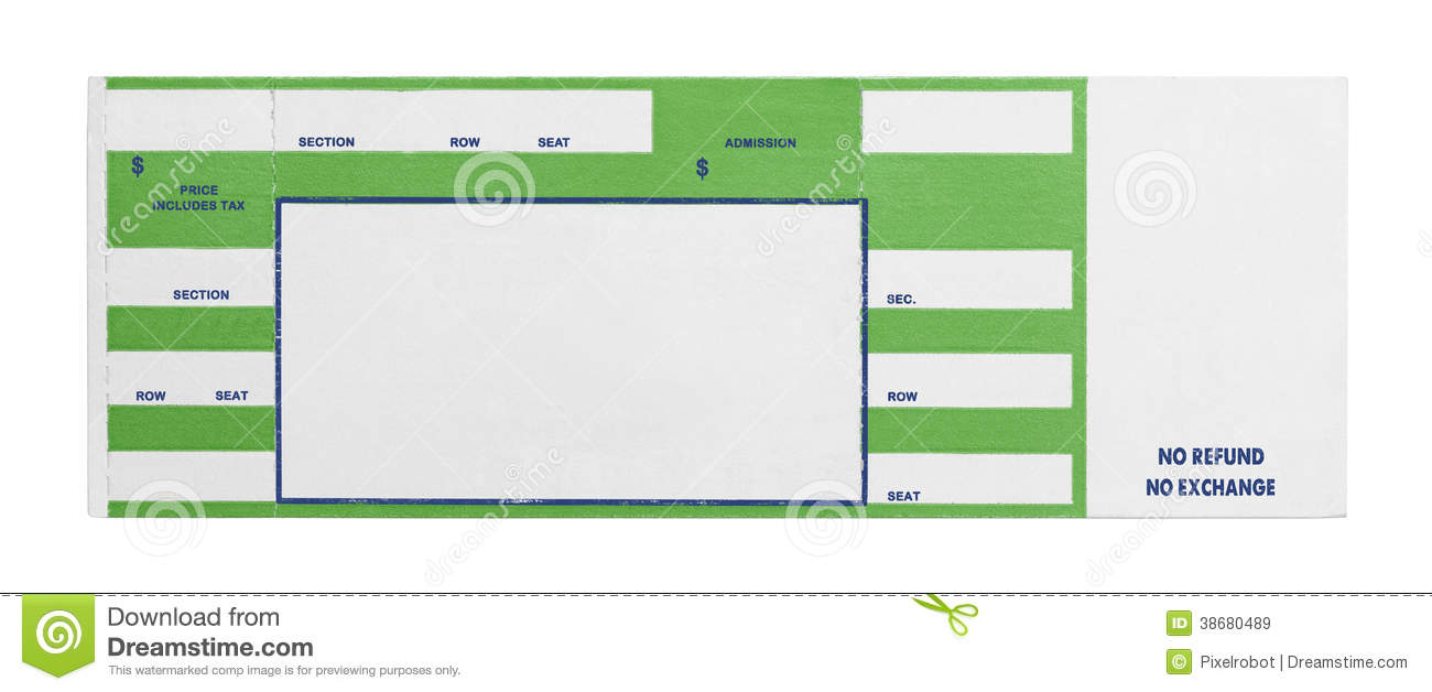Concert Ticket Template Free Targergolden Dragonco Green Concert Ticket  Blank Performance Isolated White Background 38680489 Concert  Print Your Own Tickets Template Free